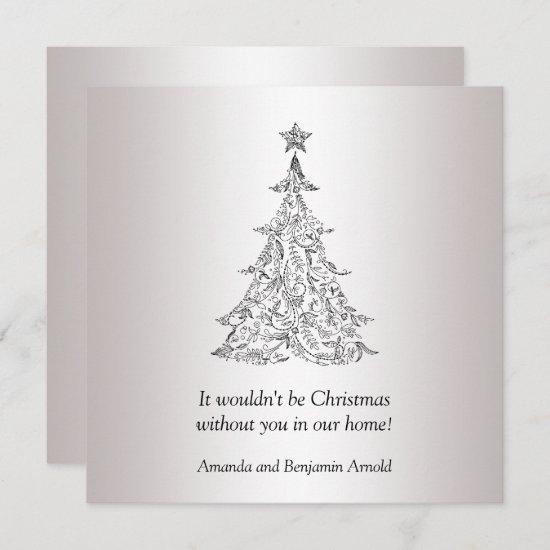 Black and Silver Holiday Tree Invitation
