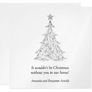 Black and Silver Holiday Tree Invitation