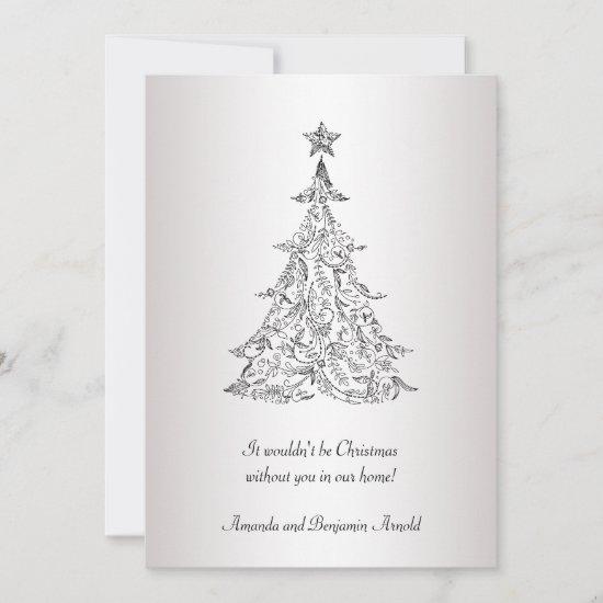 Black and Silver Holiday Tree Invitation Card