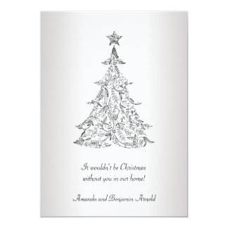 Black and Silver Holiday Tree Invitation Card