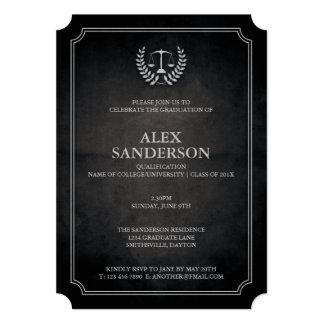 Black and Silver Law School Graduation Party 5x7 Paper Invitation Card