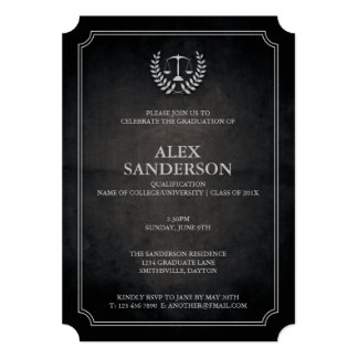 Black and Silver Law School Graduation Party Card