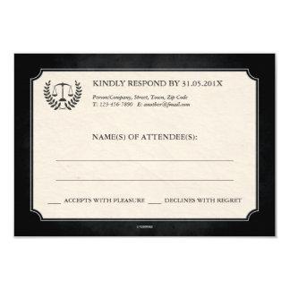 Black and Silver Legal/Law School Graduation RSVP 3.5x5 Paper Invitation Card