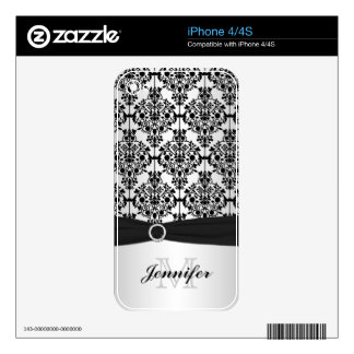 Black and Silver Look Damask iPhone 4/4s Skin iPhone 4 Decal