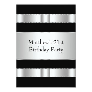 Black and Silver Mans 21st Birthday Party Card