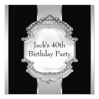 Black and Silver Mans Birthday Party Card
