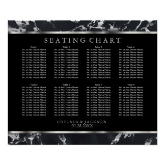 Black and Silver Marble - 10 Seating Chart