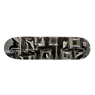 black and silver Metal art Skateboard Deck