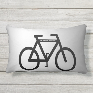 Black and Silver Metallic Bicycle Outdoor Pillow