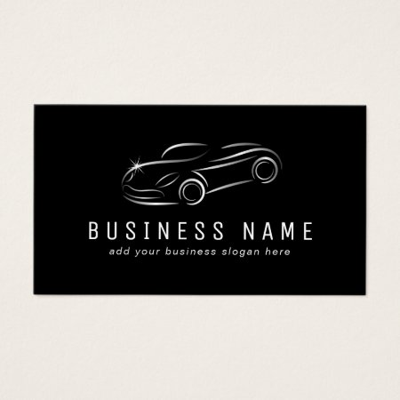 Black and Silver Metal Convertible Sports Car Outline Auto Repair Business Cards