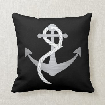 Beach Themed Black and Silver Modern Nautical Pillow