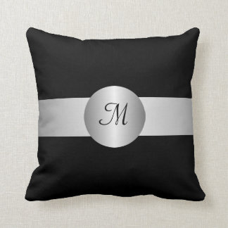 Black And Silver Monogrammed American MoJo Pillow
