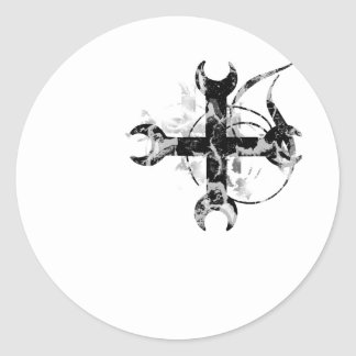 Black and Silver Moon Cross Classic Round Sticker