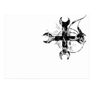 Black and Silver Moon Cross Postcard