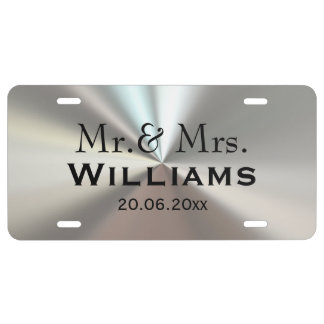 Black and silver Mr. & Mrs. Wedding License Plate