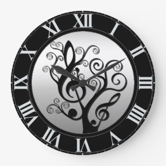 Black and Silver Music Treble Clef Tree Wall Clock