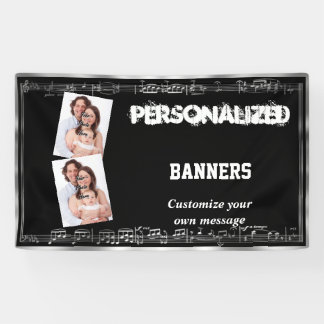 Black and silver musical notes banner