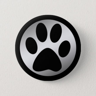 BLACK AND SILVER PAW PRINT PINBACK BUTTON