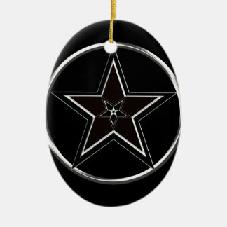 Black And Silver Pentacle with Inverted Pentagram Ceramic Ornament