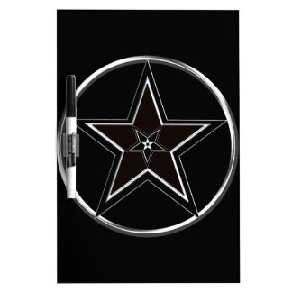 Black And Silver Pentacle with Inverted Pentagram Dry-Erase Board
