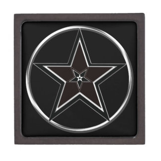 Black And Silver Pentacle with Inverted Pentagram Gift Box