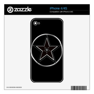 Black And Silver Pentacle with Inverted Pentagram iPhone 4S Skin