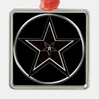 Black And Silver Pentacle with Inverted Pentagram Metal Ornament