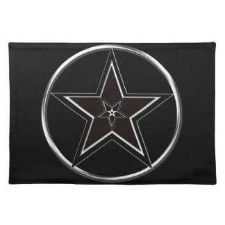 Black And Silver Pentacle with Inverted Pentagram Placemat