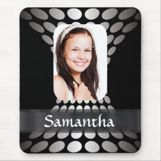 Black and silver personalized photo template mouse pad