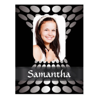 Black and silver personalized photo template postcard