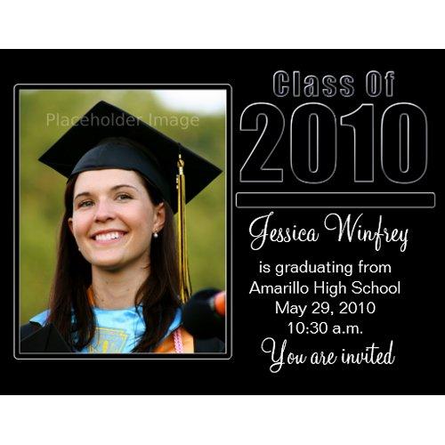 Black and Silver-Photo Graduation invitation