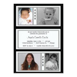 Black and Silver Quad Photo Graduation Party 5x7 Paper Invitation Card
