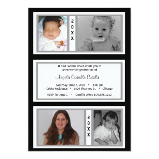 Black and Silver Quad Photo Graduation Party Card