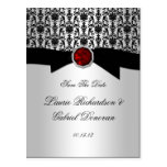 Black and Silver Red Ruby Jewel Save The Date Postcard