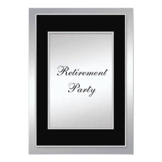 "Black and Silver Retirement Party 5"" X 7"" Invitation Card"
