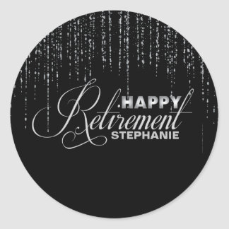 Black and Silver Retirement Party Stickers