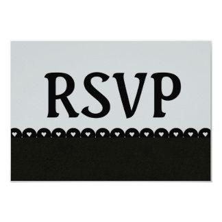 Black and Silver RSVP Hearts Scalloped Lace V5E3 Card