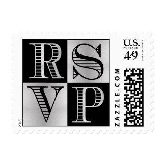 Black and Silver RSVP Wedding Postage