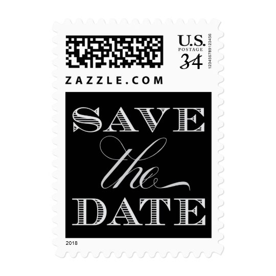Black and Silver Save the Date Postage