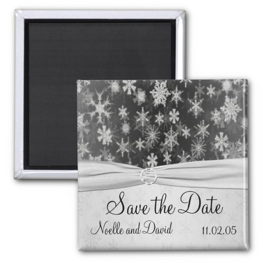 Black and Silver Snowflakes Save the Date Magnet
