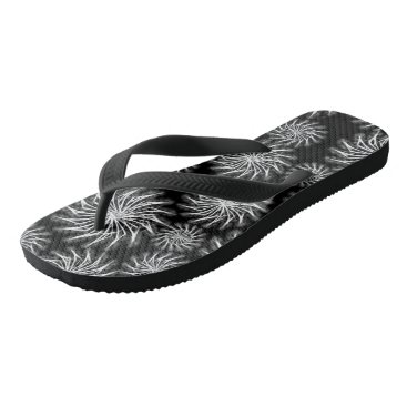 Beach Themed Black and Silver spinning stars pattern flip flops