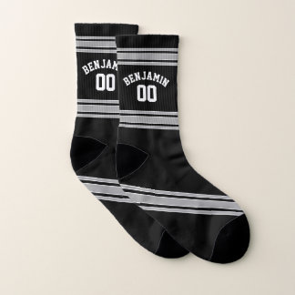 Black and Silver Sports Jersey Custom Name Number Socks
