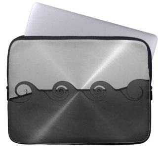 Black and Silver Stainless Steel Metal Swirl Computer Sleeve