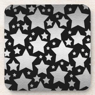 Black and Silver  stars design plastic coasters