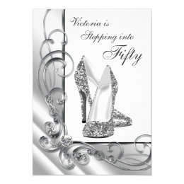 Black and Silver Stepping Into 50 Birthday Party Card