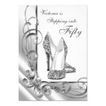 Black and Silver Stepping Into 50 Birthday Party 5x7 Paper Invitation Card