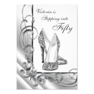 "Black and Silver Stepping Into 50 Birthday Party 5"" X 7"" Invitation Card"