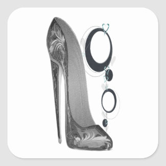 Black and Silver Stiletto Shoe and Bangles Art Square Sticker