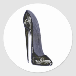 Black and Silver Stiletto Shoe Art Gifts Classic Round Sticker