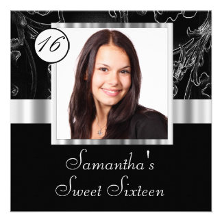 Black and silver sweet sixteen custom invites